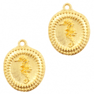DQ European metal charms seahorse Gold (nickel free)