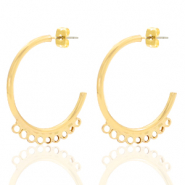 DQ European metal findings creole earrings 30mm with loops Gold (nickel free)