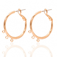 DQ European metal findings creole earrings 26mm with loops Rose Gold (nickel free)