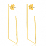 DQ European metal findings earrings geometric irregular Gold (nickel free)