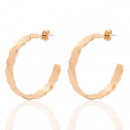 DQ European metal findings creole earrings 38mm irregular Rose Gold (nickel free)