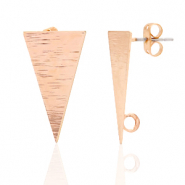 DQ European metal findings earpin triangle with loop Rose Gold (nickel free)