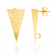 DQ European metal findings earpin triangle with loop Gold (nickel free)