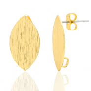 DQ European metal findings earpin oval with loop Gold (nickel free)
