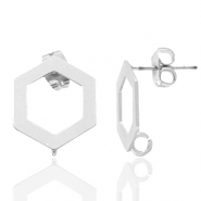 DQ European metal findings earpin hexagon with loop Antique Silver (nickel free)