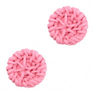 Braided rattan pendants round 20mm Pink