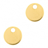 Stainless steel charms 8mm round Gold