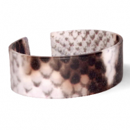 Ready-made Bracelets resin snake matt Brown-Grey