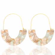 Trendy earrings resin Beige Blue-Gold