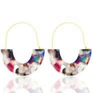 Trendy earrings resin Multicolour-Gold