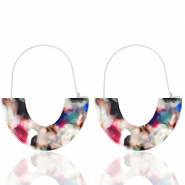 Trendy earrings resin Multicolour-Silver