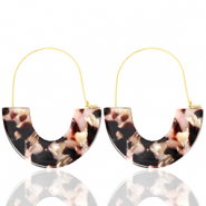 Trendy earrings resin Brown Pink-Gold