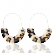 Trendy earrings resin Cream Black-Silver