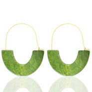 Trendy earrings resin Olive Green-Gold