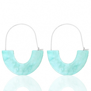 Trendy earrings resin Turquoise-Silver