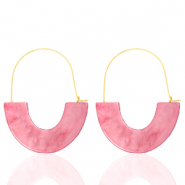 Trendy earrings resin Pink-Gold