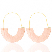 Trendy earrings resin Peach-Gold