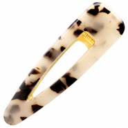 Hair accessories hair clip resin XL Cream Black-Gold