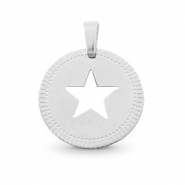 Stainless steel charms round 12mm star Mix&Match Silver