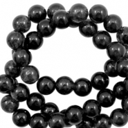 4 mm natural stone beads round Jade Black Opal