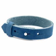 Cuoio bracelets nubuck leather 15 mm for 20 mm cabochon Aegean Blue