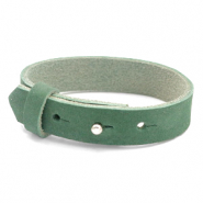 Cuoio bracelets nubuck leather 15 mm for 20 mm cabochon Sea Green
