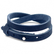 Cuoio bracelet nubuck leather 8 mm double for 12 mm cabochon Indigo Blue
