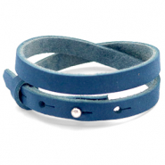 Cuoio bracelet nubuck leather 8 mm double for 12 mm cabochon Aegean Blue