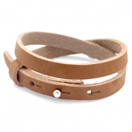 Cuoio bracelet nubuck leather 8 mm double for 12 mm cabochon Sequoia Brown