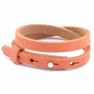 Cuoio bracelet nubuck leather 8 mm double for 12 mm cabochon Living Coral Red