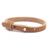 Cuoio bracelet nubuck leather 8 mm for 12 mm cabochon Sequoia Brown