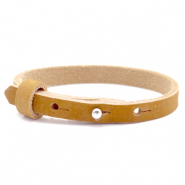 Cuoio bracelet nubuck leather 8 mm for 12 mm cabochon Camel Brown