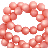 Super Polaris beads round 6 mm matt Burnt Coral Pink