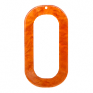 Resin pendants oblong oval 56x30mm Flame Orange