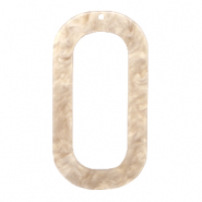 Resin pendants oblong oval 56x30mm Light Semolina Beige