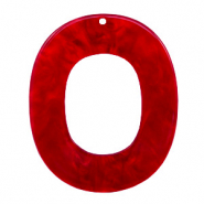 Resin pendants oval 48x40mm Cherry Red