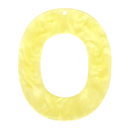 Resin pendants oval 48x40mm Sunshine Yellow