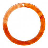 Resin pendants round 35mm Flame Orange