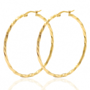 Stainless steel earrings creole 50mm twist Gold