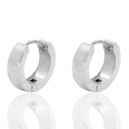 Stainless steel earrings creole flat 13mm Silver