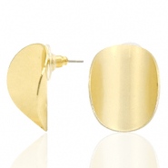 Trendy earrings oval matt Gold (nickel free)