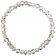 Top faceted bracelets 6x4mm Greige Crystal-Pearl Shine Coating