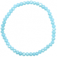 Top faceted bracelets 4x3mm Light Blue-Pearl Shine Coating
