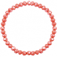 Top faceted bracelets 6x4mm Vintage Rose Peach-Pearl Shine Coating