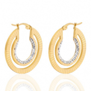 Stainless steel earrings creole 30mm strass Gold
