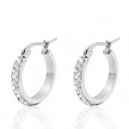 Stainless steel earrings creole 20mm strass Silver