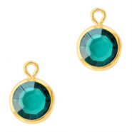 DQ Crystal glass charms round 6mm Gold-Blue Zircon