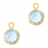 DQ Crystal glass charms round 6mm Gold-Light Sapphire
