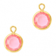 DQ Crystal glass charms round 6mm Gold-Light Rose