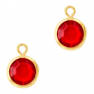 DQ Crystal glass charms round 6mm Gold-Light Siam Red
